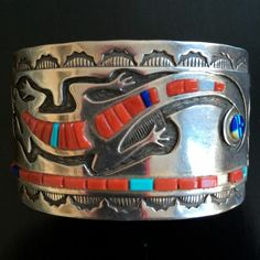 Vintage navajo inlay lizard cuff bracelet sterling silver by wilbert manning