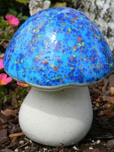 Set of 6 ceramic mushrooms purple Handmade decorative blue home  garden decor sculpture pink fairy tale glazed stoneware unique