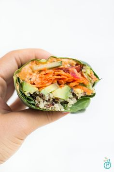 Veggie + Quinoa Collard Wraps - a healthy, vegan lunch that will fill you up