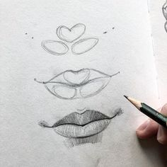 sketch lips step by step \ sketch lips ` sketch lips step by step ` sketch lips mouths ` sketch lips kiss ` sketch lipstick ` sketch lips cartoon ` sketch lips anime ` sketch lips easy Girl Drawing Sketches, Cool Art Drawings, Pencil Art Drawings, Realistic Drawings, Easy Drawings, How To Draw Realistic, How To Shade Drawings, Minimal Drawings, Pencil Sketching