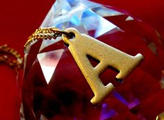 Vintage Brass A Initial Letter Necklace by BrooklynCharm on Etsy, $16.00