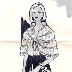 Crocheted Mohair Cape Shawl Pattern - Vintage Mail Order Design - Laura Wheeler 624