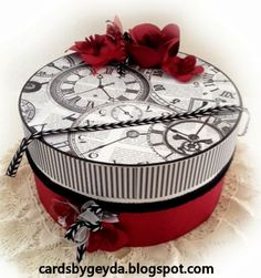 From the DRESS SHOP SVG KIT comes this fabulous Vintage Hat Box by Misty!  The colors are amazing with the print on top of the box and the red flowers (in the kit, too!).  Give a gift they'll cherish forever in this stunning keepsake box!