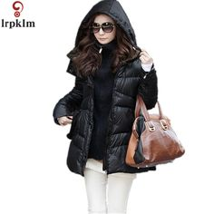 2017 New Women's Fashion Overcoat Atmospheric Thick Long Topcoat Black Outwear Invisible Snap Parkas Jacket  LZ0015 #Affiliate