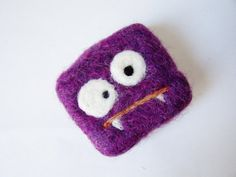 Felted soap Mini Monster purple