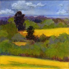 Yellow Fields - Original Landscape Painting Spring on Canvas 8x8 Blue Green Yellow. $75.00, via Etsy.