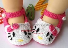 baby bootie hello kitty pattern | Handmade Hand Knit Crochet Baby Shoes Booties with hello kitty theme ...  Anyone have a  pattern for these?