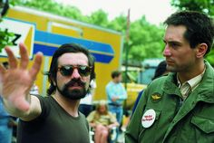 scorsese and de niro on the set of taxi driver.