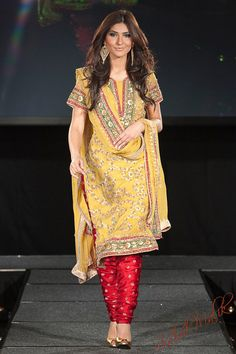 Yellow salwar outfit with red legging [Shahid Malik Studio]