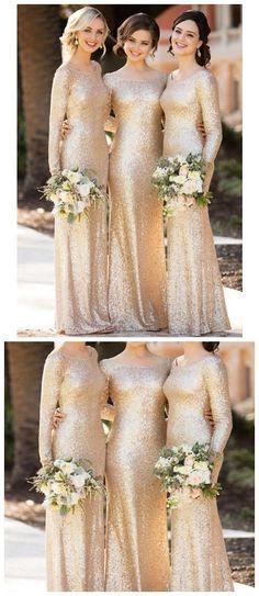 f3b96244 Long Sleeves Gold Sequin Mermaid Cheap Long Bridesmaid Dresses Online, WG256