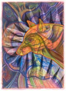 Galchutt PAISLEY PEACOCK Rug Hooking Pattern appr 34 x 24