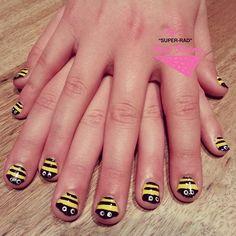 Bees for birthday girl Mia #nailart #melbournenailart #superradnalsisters