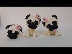 If you like Flexible Pasta, Cold Porcelain, French Paste, Polymer Clay, Biscuit or whatever the name in your country is known this material you will surely l. Cute Polymer Clay, Polymer Clay Animals, Polymer Clay Canes, Polymer Clay Miniatures, Diy Clay, Clay Crafts, Fondant Dog, Fondant Animals, Fondant Cupcakes