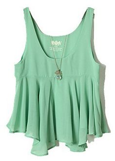 Green Sleeveless Ruffles Chiffon Vest - pair it with a cute cream lace skirt or shorts, cute sandals and toss your hair up with a colorful scarf or ribbon.