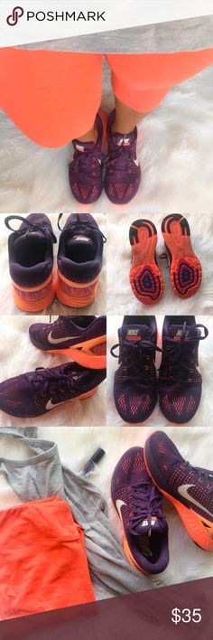 New Nike Running Lunarglide 7 Grand Purple - Sz 9 Like New Nike Running Sneakers. Lunarglide 7 have less than 2.5 miles on them. Ease your stride in style with beautiful grand purple and sunset glow colors. These run in the size US 9.    Like New Condition Fast Shipping All Payments Accepted via Poshmark Offers Accepted Nike Shoes Sneakers