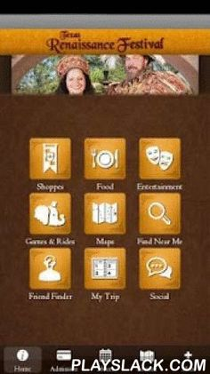 Texas Renaissance Festival  Android App - playslack.com , Visiting Texas Renaissance Festival? Take along the TexRenFest MyPark Mobile App -- it helps you plan your trip before visiting, and helps keep you on track while you are enjoying the festival, with information and features such as:•Ticket prices, operating dates, hours, and directions to the faire. •Shoppe, game and ride descriptions and locations.•Dining options and locations in the faire, searchable by your favorite foods or by…