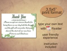 Thank You printable template Instant download diy editable