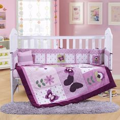 79.80$  Buy now - http://ali9bk.worldwells.pw/go.php?t=32652991759 - 4PCS Embroidery purple Crib Bed Linen Baby Bedding Set baby cot set ,include(bumper+duvet+sheet+pillow) 79.80$