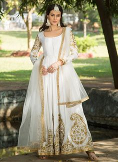 White and Gold Embroidered Dhupioni Silk Anarkali – Lashkaraa Bollywood Outfits, Pakistani Outfits, Indian Outfits, Indian Gowns Dresses, Bridal Dresses, Girls Dresses, Designer Anarkali Dresses, Designer Dresses, Designer Wear
