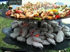 Awesome Grill made out of Tractor Discs @ LSU Tailgate - Making Fajitas Barbecue, Bbq Grill, Fajita Grill, Outdoor Kitchen Bars, Smoke Grill, Rocket Stoves, Cast Iron Cooking, Outdoor Cooking, Outdoor Grilling
