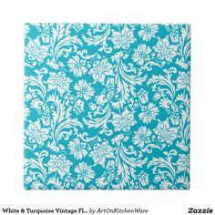 White & Turquoise Vintage Floral Damasks