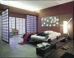 Modern-Asian bedroom decoration ideas paper screen door black furniture wall paintings