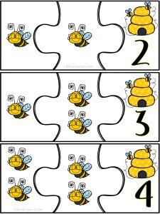 Interactivos para la Clase nos comparte este Genial rompecabezas de números del 1 al 10 con abejitas ilustradas, un lindo Bee Activities, Cute Kids Crafts, Math Sheets, Bee Movie, Cute Coloring Pages, Bee Art, Preschool Printables, Bee Theme, Math For Kids