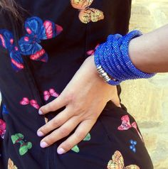 Blue Gardenia long necklace or bracelet tubolar