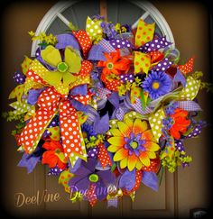 Summer Fields Deco Mesh Wreath Summer Mesh by DeeVineDeeZines