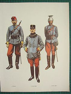 Vintage Ww1 Wwi Print ~ Austria Dragoon Regiment Major Lancer Lieutenant Field