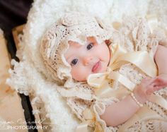 Christening, Baptism. baby girl dress set. Gown, Bonnet, Booties. READY ITEMS