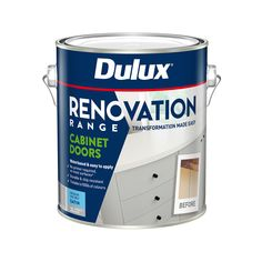 Dulux® Renovation Range Cabinet Doors is a revolutionary, water based interior coating that is perfect for surfaces in the kitchen, bathroom or laundry. It is easy to apply and requires no primer on most surfaces providing a beautiful, durable and chip resistant, professional finish that you can achieve yourself. Laminate Benchtop, Wood Laminate, Painted Doors, Wooden Doors, Melamine Cabinets, Container Size, White Kitchen Cabinets, Enamel Paint, Cabinet Colors