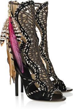 ShopStyle: Jimmy Choo Kevan woven leather and suede sandals