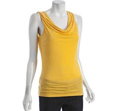Elie Tahari sunflower yellow delaney knit cowl neck tank