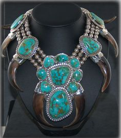 Necklace | John Hartman.  Sterling silver, Stormy Mountain Turquoise and Bears Claws.