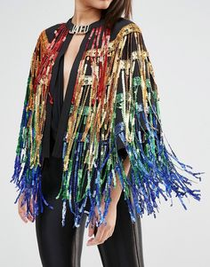 Image 3 of Jaded London Festival Cape Jacket With Sequin Tassels