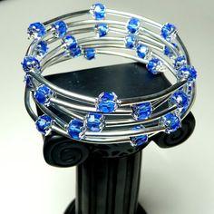 Spiral Bracelet with Sapphire Swarovski Beads by Abellas on Etsy