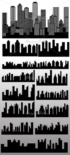 Skylines Silhouettes Vectors