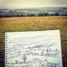 So cold and windy drawing this yesterday! Classic English winter landscape