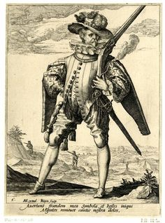 1587 - Musketeer, whole-length, holding rifle on his shoulder with a burning fuse, legs astride; after Goltzius. Prints made by Jacob de Gheyn II. Published by Hendrik Goltzius After Hendrik Goltzius