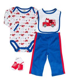 Love this White & Red Fire Truck Bodysuit Set - Infant by Cutie Pie Baby on #zulily! #zulilyfinds