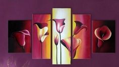 5PC Tulips Flowers Modern Abstract on Canvas Oil Painting No Frame