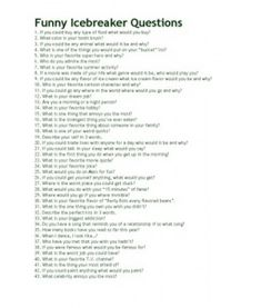 100 Funny Questions - for my Friday standup meetings ♥ 100 Funny Questions - for my Friday standup meetings ♥ Group Ice Breakers, Funny Ice Breakers, Ice Breakers For Women, Team Meeting Ice Breakers, Funny Icebreaker Questions, Icebreaker Activities, Leadership Activities, Group Activities, Wedding Activities
