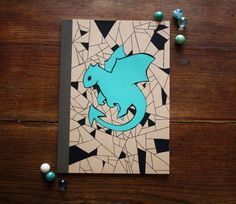 Hand Illustrated Notebook, Blank Journal or Diary - Simple dragon