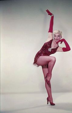 American film and television actress, Sheree North in a racy red dance ensemble. #actress #dancer #performer #vintage #costume