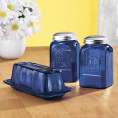 Cobalt Blue Accessories - Depression Style Glassware - Kitchen - Miles Kimball - I have these Salt/Pepper Shakers and I love them! Vintage Dishes, Vintage Glassware, Vintage Kitchen, Cobalt Blue Kitchens, Blue Kitchen Accessories, Decorative Accessories, Blue Dishes, Cobalt Glass, Thing 1