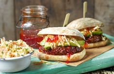 Beef and beetroot burger with buttermilk slaw