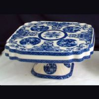 Royal Square Cake Stand - Blue & White French Vintage & Scroll Design by Somerton Green