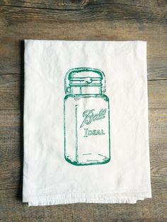 Screen Print Ball Ideal Mason Jar  Dark Teal  by TheCoinLaundry, $10.00