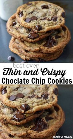 Thin and Crispy Chocolate Chip Cookies Chocolate Chip Cookies Rezept, Perfect Chocolate Chip Cookies, Chocolate Cookie Recipes, Chocolate Chocolate, Thin Cookie Recipe, Cookies Without Brown Sugar, Almond Flour Cookies, Chocolate Biscuits, Desert Recipes